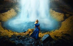 Picture girl, the wind, hair, back, waterfall, dress