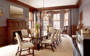 Picture design, style, interior, fireplace, dining room