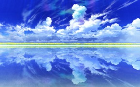 Picture the sky, clouds, landscape, flowers, lake, reflection