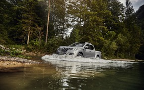 Picture trees, shore, wave, Renault, pickup, 4x4, 2017, Alaskan, gray-silver