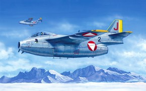 Picture art, airplane, aviation, jet, The Saab 29 Fighter