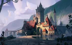 Picture mountains, castle, people, pond, Castle design