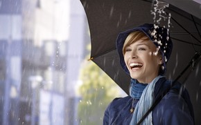 Picture girl, drops, joy, squirt, smile, rain, mood, hat, umbrella, makeup, scarf, jacket, hairstyle, beauty, bokeh, …
