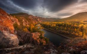 Picture autumn, landscape, mountains, nature, river, forest, Khakassia