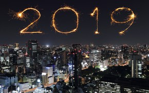 Picture night, city, lights, salute, colorful, New Year, happy, night, New Year, fireworks, 2019