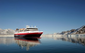 Picture Winter, The ocean, Sea, Liner, Ice, The ship, Arctic, Passenger ship, Spitsbergen, Cruise Ship, Passenger ...