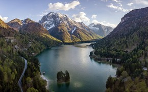 Picture road, mountains, lake, Alps, Italy, island