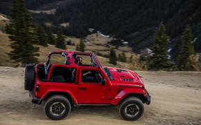 Picture trees, red, movement, the slopes, profile, 2018, Jeep, Wrangler Rubicon