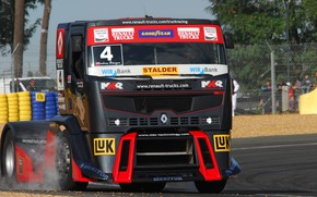 Picture asphalt, smoke, track, truck, Renault, racing, Renault Trucks, Premium Course MKR