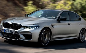Picture road, grey, movement, speed, shadow, BMW, sedan, 4x4, 2018, four-door, M5, V8, F90, M5 Competition