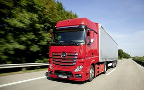 Picture red, Mercedes-Benz, track, tractor, 2013, 4x2, Actros, the trailer