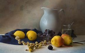 Picture glass, dishes, still life, pear, Verba, lemons, BlackBerry, the milkman