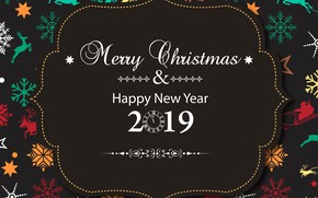 Picture holiday, new year, postcard, 2019