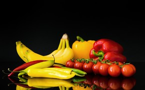 Picture background, bananas, pepper, vegetables, tomatoes