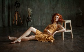 Picture look, girl, model, figure, dress, red, legs, beauty, on the floor, Albert Forest