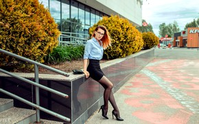 Picture look, sexy, pose, model, the building, skirt, portrait, makeup, figure, slim, glasses, hairstyle, ladder, shoes, …