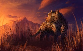 Picture sunset, nature, leopard, by CreeperMan0508