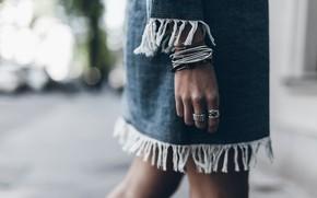 Picture girl, hand, dress, ring, bracelets
