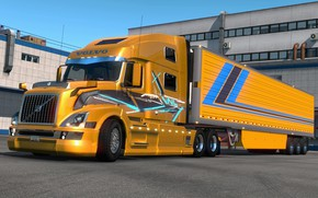 Picture yellow, the game, truck, Euro Truck Simulator 2, SCS Software
