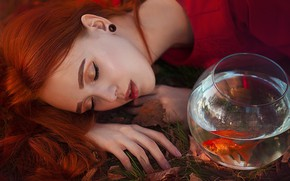 Picture girl, face, mood, aquarium, hand, fish, makeup, goldfish, red, redhead, closed eyes, Marina Zharinova