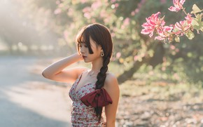 Picture the sun, trees, flowers, pose, model, portrait, makeup, dress, hairstyle, braid, brown hair, Asian, bokeh