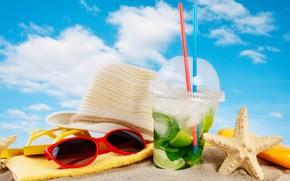 Picture hat, sea, glasses, bag, shore, sand