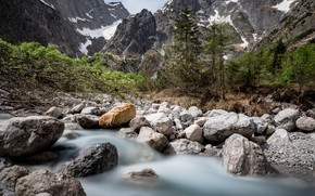 Picture mountains, river, stream