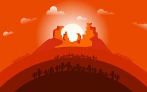 Picture Sunset, The sun, Minimalism, Desert, Cacti, Landscape, Concept Art, Cactus, Environments, Naughty Natesan, Circle animation …