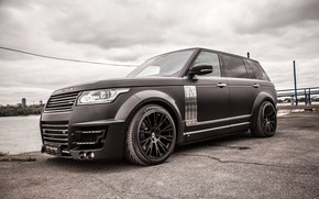 Picture machine, the sky, water, lights, tuning, Range Rover, drives, black, side, wheel, the gray sky, …