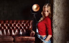 Wallpaper is, denim, Kate, makeup, bokeh, beauty, Mike, lamp, red, blonde, Sergei Tomashev, pose, model, the ...