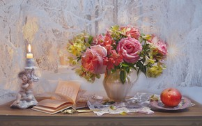 Picture flowers, style, Apple, roses, bouquet, book, still life, candle holder, Alstroemeria, Valentina Fencing