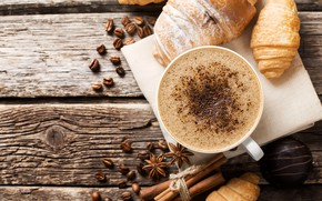 Picture coffee, Breakfast, cinnamon, wood, coffee, anise star, chocolates, aroma