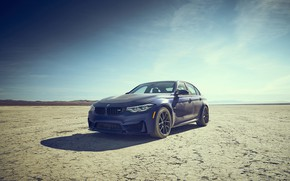 Picture dust, BMW, blue, dry lake