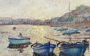 Picture sea, boats, pointillism, Yvonne Canu, Yvonne Kahn, The harbour. Sunset