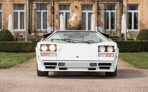 Picture White, Supercar, Lamborghini Countach, Classic Car