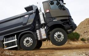 Picture Renault, profile, body, primer, dump truck, four-axle, Renault Trucks, K-series