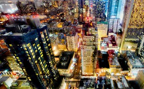 Picture lights, home, New York, USA, skyscrapers, megapolis, the view from the top, street
