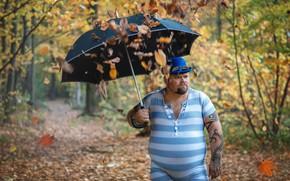 Picture fat, tights, Timothy Trefilov, umbrella, leaves, male, falling leaves, tattoo, autumn