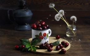Picture mug, dandelions, cherry