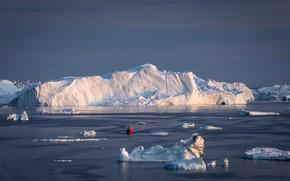 Picture winter, sea, the sky, light, snow, red, shore, ship, ice, glacier, iceberg, ice, the ship, …