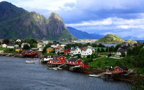 Picture sea, landscape, mountains, nature, home, village, Norway, The Lofoten Islands, Pure, The Rhine, Lofoten