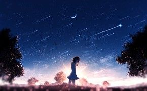 Picture the sky, the sun, girl, crying, Crescent