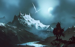 Picture Mountains, Night, Dragon, White, River, The moon, Monster, Warrior, Fantasy, Dragon, Art, Fiction, Omar Bronze, …