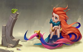 Picture frog, day, girl, red, hat, League Of Legends, Zoe