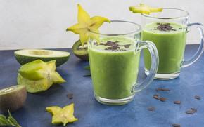 Picture glass, kiwi, avocado, smoothies, cannon