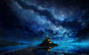 Picture sea, the sky, night, Cathedral, the milky way