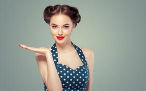 Picture look, face, style, makeup, girl, hairstyle, Beautiful, gesture, retro, hairstyle, Ryabusjkina Irina