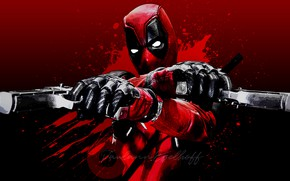 Picture guns, red background, Deadpool, Deadpool