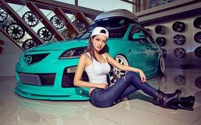 Picture auto, look, Girls, Mazda, beautiful girl, posing on the car, isiaka