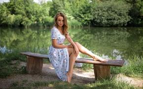 Wallpaper pond, grass, bokeh, makeup, beauty, barefoot, trees, legs, Grigoriy Lifin, brown hair, nature, portrait, pose, ...